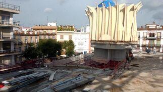 Aspecto actual de las obras de Metropol Parasol
