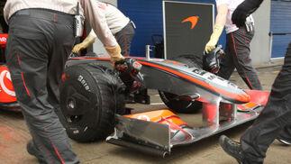 Detalle del alerón delantero del McLaren de 2009.  Foto: J. C. Toro
