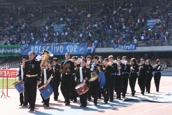 La Banda 'Acordes de Jerez' amenizó la previa y el descanso del partido.  Foto: Juan Carlos Toro