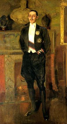 El padre de Cayetana, Jacobo Fitz James Stuart, XVII duque de Alba, aparece retratado por Sorolla. Es una de las cinco obras presentes en la exposición que habitualmente cuelgan en el Palacio de Dueñas.