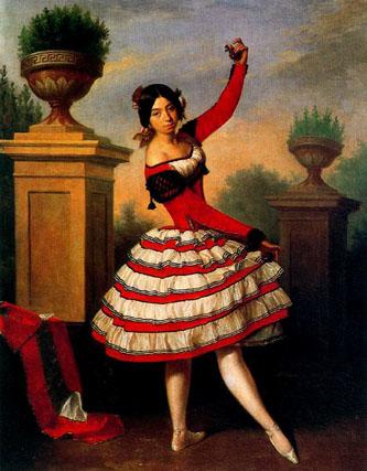 La bailaora Josefa Vargas, vista por el pintor romántico sevillano Antonio M. Esquivel. Este cuadro se exhibe normalmente en el Salón Azul del Palacio de Dueñas.