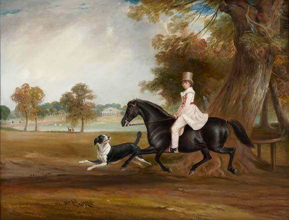 Charles Lamp de niño montando a caballo en Hyde Park. John Ferneley. Pintura inglesa. Lienzo. 71 x 92 cm. Palacio de Liria  Foto: Museo de Bellas Artes de Sevilla