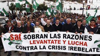 Cabeza de la manifestación en Arcos  Foto: Aguilar