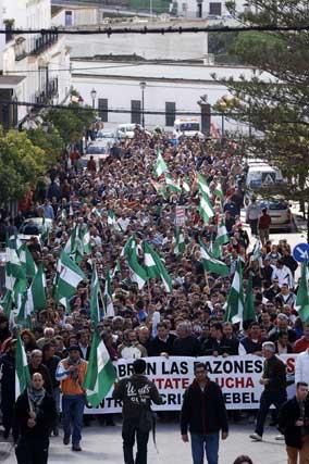 Manifestantes en Arcos de la Frontera  Foto: Aguilar
