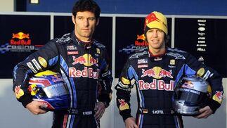 Los pilotos del equipo Red Bull en el circuito de Jerez.  Foto: Agencia