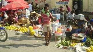 Zona de venta ambulante de comida.