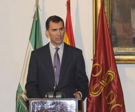 Don Felipe durante su intervención en el Alcázar de Sevilla.  Foto: Juan Carlos Vázquez