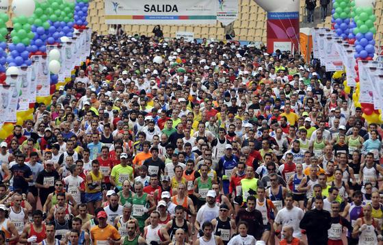 Imagen de la salida en el estadio Olímpico. /Juan Carlos Vázquez