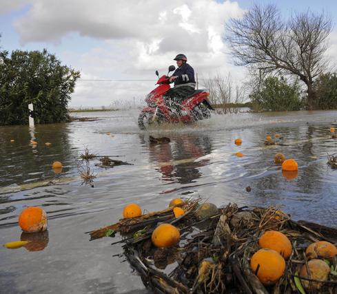 Un motorista trata de desplazarse en una zona anegada por el agua del Gergal desbordado.  Foto: Juan Carlos Vázquez