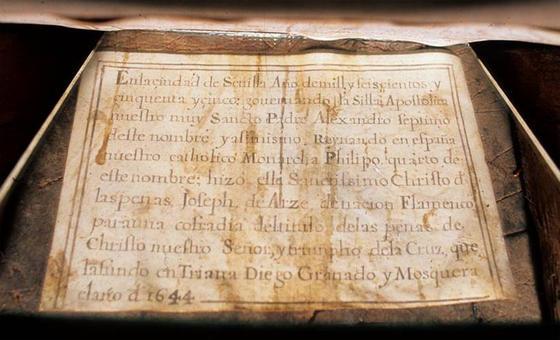 Documento de autoría del Señor de las Penas de la Estrella.  Foto: IAPH/Eugenio Fernández