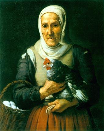 'Vieja con gallo y cesta de huevos'. Óleo sobre lienzo. 79,1x63,5 cm. Staatsgemäldesammlungen, Alte Pinakothek, Múnich.