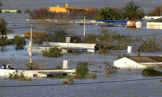 Efectos del temporal en Jerez de la Frontera, junto a la carretera de El Portal  Foto: Paco Periñan / Aguilar / Borja Benjumeda / Pascual/ JC Toro / Efe