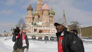 Moscú recibió al Sevilla con un temporal de nieve.   Foto: Antonio Pizarro