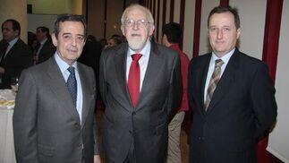 Antonio Fernández Palacios, secretario del Consejo Andaluz de Cámaras; Joaquín Galán, presidente del Consejo Económico y Social de Andalucía; y Luis Fernández Palacios, director del Gabinete Técnico de la CEA.  Foto: M. GOMEZ/ VICTORIA HIDALGO