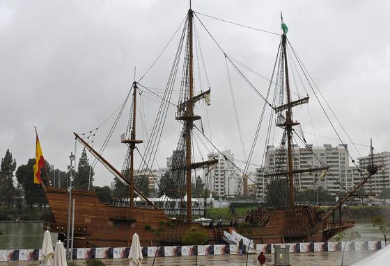 El Galeón Andalucía en el Muelle de las Delicias.   Foto: Juan Carlos Vázquez