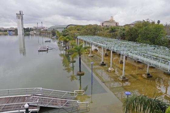 Una zona de La Cartuja inundada.  Foto: Juan Carlos Vázquez