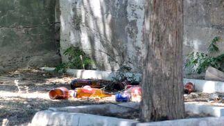 """""""En algunas ocasiones han saltado por la noche y han hecho fogatas y también están arrojando objetos al interior, como botellas de los grupos de jóvenes que se ponen en la puerta a beber   Foto: Manuel Aranda"""