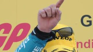 El ganador de la categoría 125cc. Nicolás Terol del Gran Premio de Indianápolis.  Foto: EFE