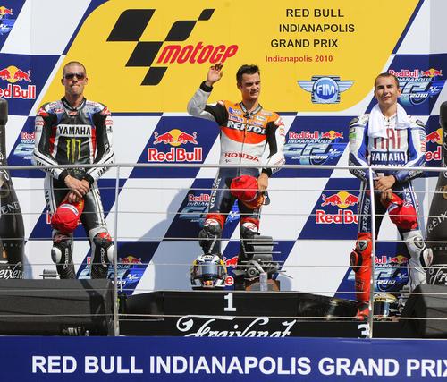 Podio del Gran Premio de Indianápolis.  Foto: EFE