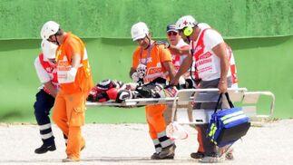 Accidente de Shoya Tomizawa en el Gran Premio de San Marino.  Foto: Reuters