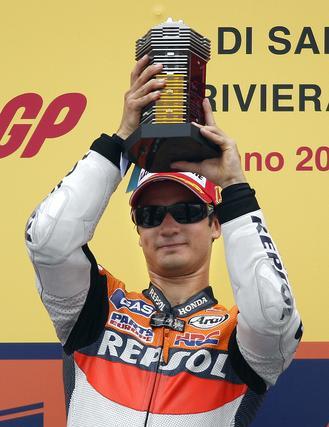 Dani Pedrosa, vencedor en el Gran Premio de San Marino.  Foto: Reuters