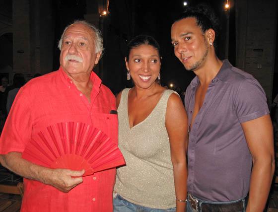 El productor musical Ricardo Pachón; la cantaora Esperanza Fernández, y el bailaor Miguel Vargas.  Foto: Victoria Ramírez