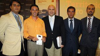 José Luis López (Diputación de Sevilla), Jesús Manuel Bueno y Ángel González (Diputación de Huelva) y Francisco Cabrales (Diputación de Cádiz), con Isaías Pérez, de Konecta Consultoría.  Foto: Victoria Ramírez