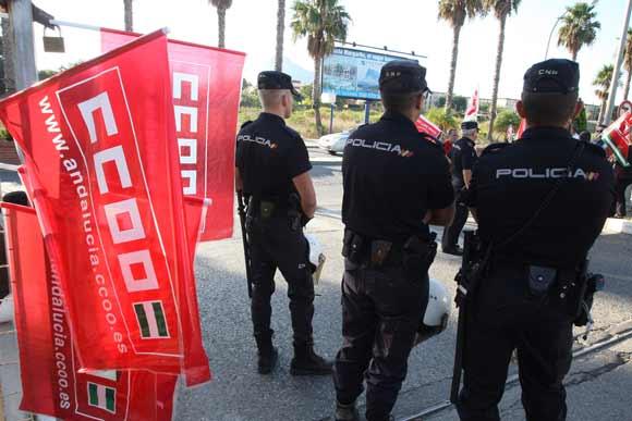 La protesta sindical no paralizó la Comarca, aunque sí tuvo incidencia en la gran industria y el puerto  Foto: Paco Guerrero