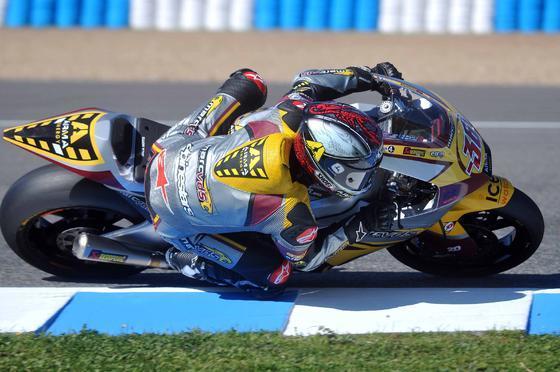 Yuki Takahashi (Moriwaki) fue el mejor, aunque el más rápido en los segundos entrenamientos libres del Gran Premio de España de la cilindrada fue el suizo Thomas Luthi (Suter)  Foto: Mateo
