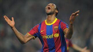 Keita festeja el cuarto gol azulgrana. / AFP