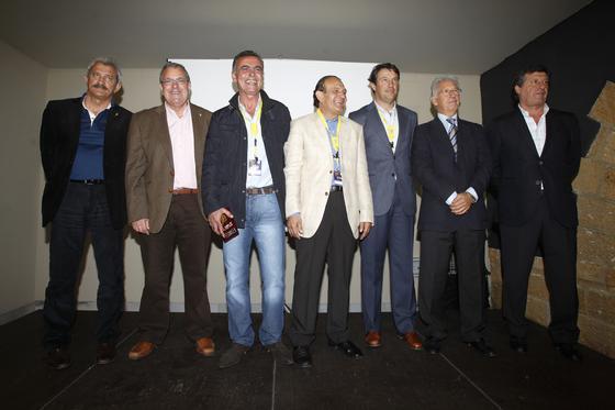 David Vidal, Luis Escarti, Chico Linares, Ramón Blanco, Jose González, Víctor Espárrago y Hugo Vaca, reunidos en el acto.   Foto: Jesus Marin