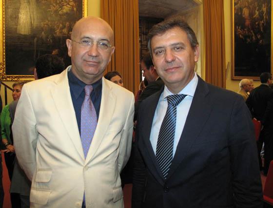 Manuel Marchena consejero delegado de Emasesa, y Francisco Arteaga, director general de Sevillana Endesa en Andalucía y Extremadura.  Foto: Victoria Ramírez