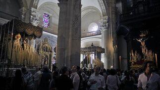Aspecto del Salvador con la Virgen de las Mercedes de Pasión, el Cristo del Amor y la Virgen del Socorro.  Foto: Juan Carlos Vázquez
