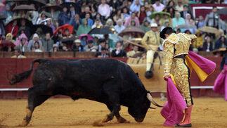 El Juli, en plena faena con el segundo toro de la ganadería de Daniel Ruiz.  Foto: Juan Carlos Muñoz