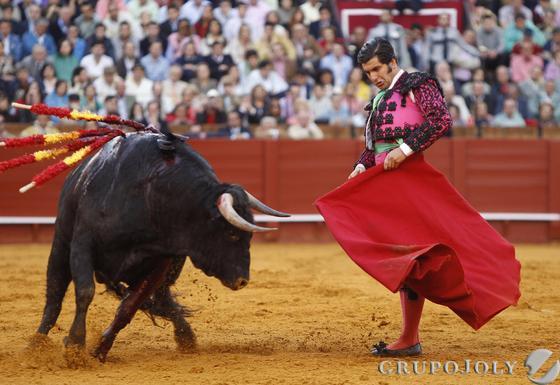 Morante torea al cuarto toro de la tarde de la primera corrida del abono de la Maestranza de la temporada 2011.  Foto: Juan Carlos Muñoz
