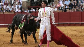 Alfonso Oliva Soto, ante el tercero, al que cuajó una buena faena.  Foto: Juan Carlos Muñoz