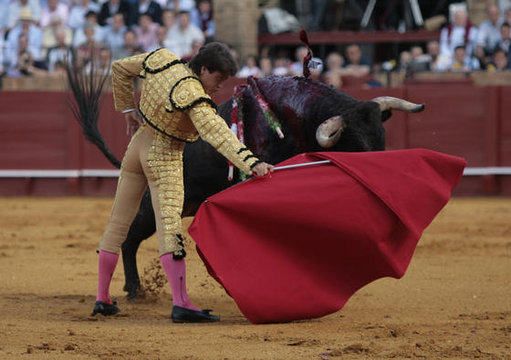 Antonio Barrera frente al manso y peligroso primer toro.  Foto: Juan Carlos Muñoz