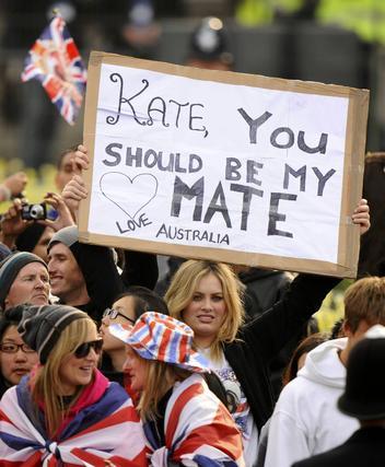 Pancartas de apoyo a Kate Middelton.  Foto: Reuters