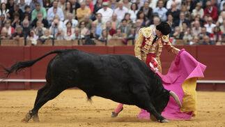 El Juli, con el segundo toro de la tarde.  Foto: Juan Carlos Muñoz