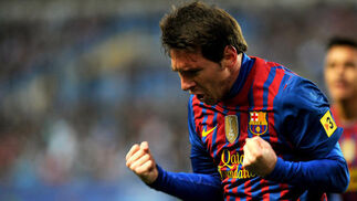 Messi celebra uno de sus tres goles. / AFP