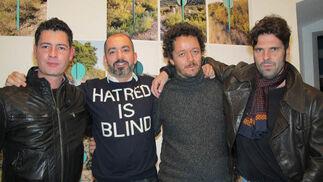 Manolo Bautista, Carlos Aires, Jorge Yeregui y Juan del Junco, cuatro de los artistas que exponen en esta muestra en Fundación Valentín de Madariaga.  Foto: Victoria Ramírez