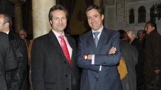Fernando Miguélez, director de los Astilleros de Navantia en la Bahía de Cádiz, con el presidente de la Audiencia Provincial, el magistrado Manuel Estrella.  Foto: Joaquín Hernández Kiki