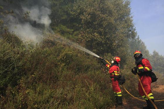 Dos miembros del Ejército echan agua para refrescar el bosque  Foto: Javier Flores