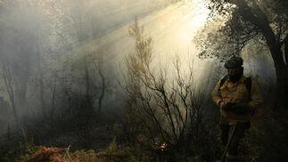 Retenes trabajan entre humo  Foto: Javier Flores