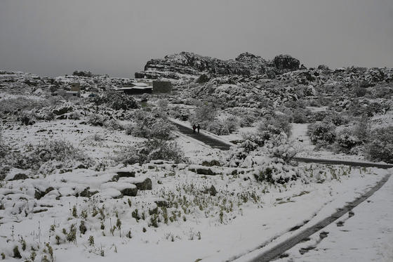 Imágenes del Torcal de Antequera, que presentaba un paisaje totalmente invernal. Los más pequeños disfrutaron de una jornada marcada por el descenso térmico.  Foto: Javier Flores