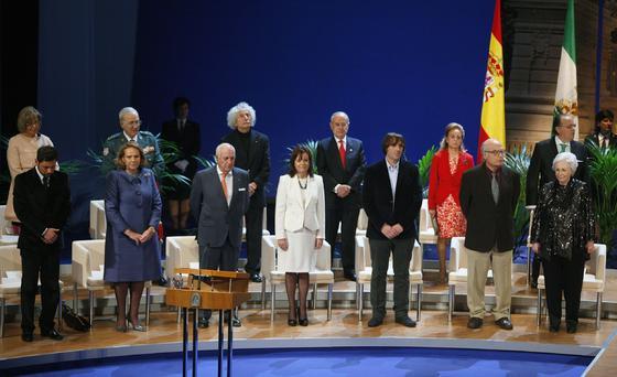 Los galardonados antes de recibir las medallas.  Foto: Antonio Pizarro