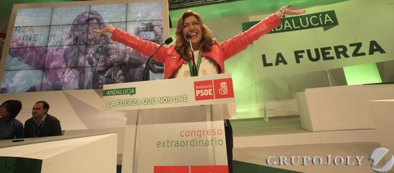 Susana Díaz se ha convertido en secretaria general del PSOE andaluz con el 98,63% de los votos de los delegados asistentes.  Foto: L. Rivas