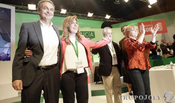 Zapatero, Susana Díaz, Griñán y Elena Valenciano.  Foto: L. Rivas