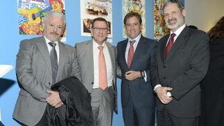 El comisario provincial, Manuel Bouzas; el coronel del Cefot Fernando Caballero; Manuel Estrella y el subdelegado de Defensa, Vicente Pablo Ortells. / Joaquín Hernández 'Kiki'