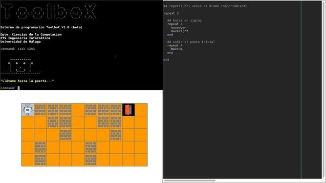 Aspecto que adopta la pantalla del ordenador, organizada en tres ventanas, con la herramienta Toolbox.